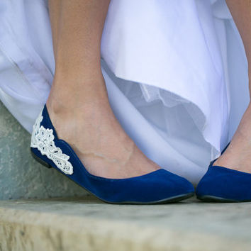 Wedding Flats - Blue Wedding Ballet Flats with Ivory Lace. US Size 7