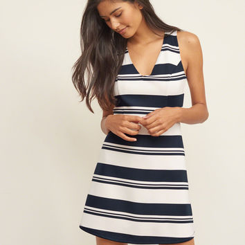 Striped Neoprene Skater Dress