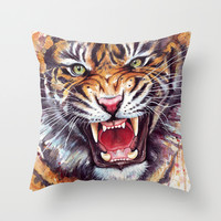 Tiger Watercolor | Jungle Animal Art Throw Pillow by Olechka