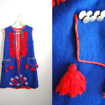 Polish Folk - Vintage Blue and Red Wool Traditional Male Waistcoat Vest