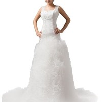 Dressystar Straps Cathedral train Wedding Dresses Gowns
