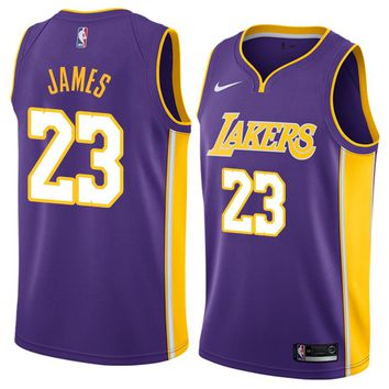 LeBron James Jersey 2018-19 Men's Los Angeles Lakers #23 Nike Swingman-Icon Edition Color Purple