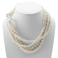 Artknots Madame Butterfly Sterling Silver White Pearl Necklace