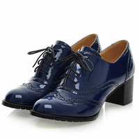 Solid Lace Up Patent Round Toe Square Heel Oxford Shoes
