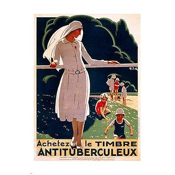 1917 decorative french VINTAGE PUBLIC HEALTH POSTER 24X36 collectors RARE!
