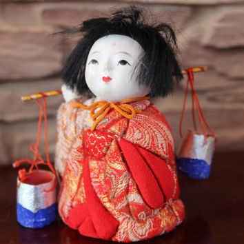 Vintage Japan Doll Traditional Costume Doll, Collector Asian Doll, Figurine, Red Dress, Black Hair