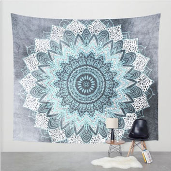 Teal Blue Bohemian Tapestry Colored Printed Decorative Mandala Tapestry Indian 130cmx150cm 153cmx203cm Boho Wall Carpet