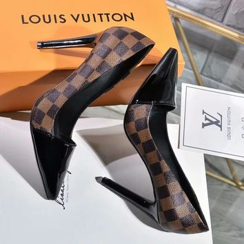 LV Louis Vuitton Fashionable Woman Sexy Coffee Tartan Leather Pointed High Heels Shoes