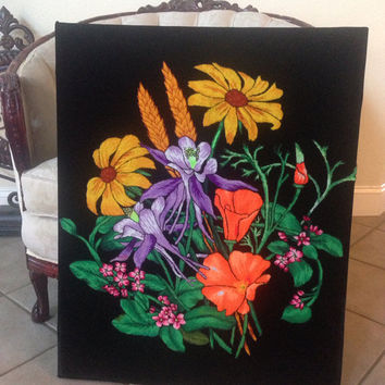 Wall Decor Floral bouquet on Black Vintage Needle Punch Embroidery on Black Velvet.  Stretched on canvas ready to hang or frame.