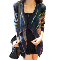 Dark Color Tribal Print Long Cuff Sleeve Cardigan