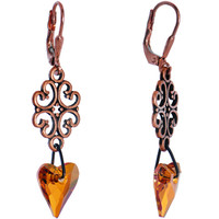 Handcrafted Enamored Amber Heart Dangle Earrings MADE WITH SWAROVSKI ELEMENTS | Body Candy Body Jewelry