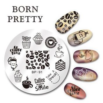 BORN PRETTY 5.5cm Round Nail Art Stamp Stamping Plates Template Set Cute Animal Flower Rose Lace Image Manicure Plate BP91-110