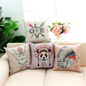 18 inches Punk Style Cushion Cover Fox and Panda Pattern Cotton Linen Pillow Cover Cushion Cover PillowCase Home Decor