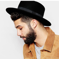 Fashion Wool Boater Flat Top Hat For Men's Felt Wide Brim Fedora Hat Gentleman Prok Pie Chapeu de Feltro Bowler Gambler Top Hat