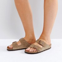 Birkenstock Arizona Taupe Suede Flat Sandals at asos.com