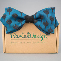 Blue Diamond Point Slim Bow Tie Pre Tied Bow Tie Blue Black Bow Tie for Men Turquoise Bow Tie Handmade Bow Tie Mens Bow Tie Wedding Bow Tie