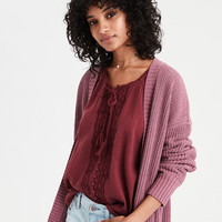 AE Super Soft Ribbed Cardigan, Pink