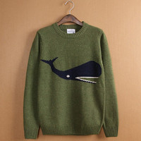 Wool Knit Jumper Whale Sweater (Plus Size for Women)