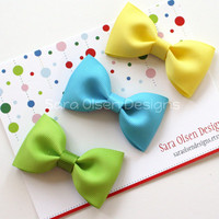 Basic Hairbows Set of 3 Tuxedo Bow Tie Hairbows Perfect for Toddlers in Apple Green Turquoise Lemon Yellow