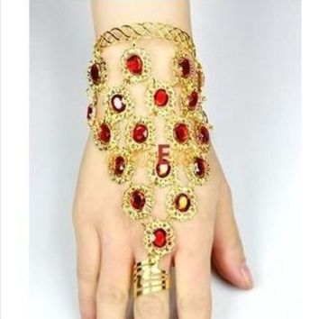 Elegant Fashion Women Luxury Gold Indian Belly Dancing Bangle Big Red Crystal Finger Charming Bangle Bracelet Bangles Jewelry Ch