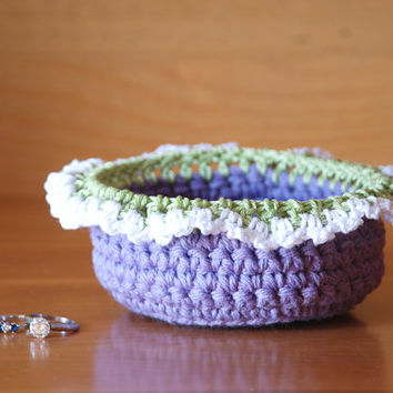 Ring dish, crochet bowl, purple crochet basket, jewelry box, change dish, trinket bowl, jewelry dish, boho decor, Easter bowl, Spring decor