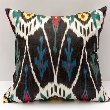 15x15 ikat cushion cover, black white red yellow ikat pillow black pillow, ikat pillow,