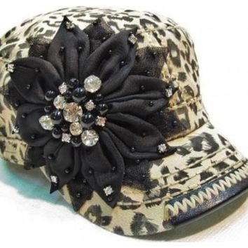 Brown Leopard Print Hat with Black Flower