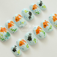 Japanese nail, summer nail, aqua blue, goldfish, koi fish, fish, aquarium, sea, short nail, hand painted, Japanese art, cute nail, fake nail