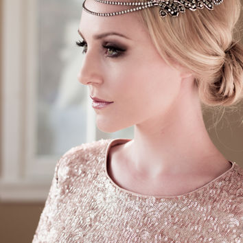 Art Deco Bridal Headpiece with Vintage Black Silver Rhinestone Halo, Seed Bead Leaf Headdress, Bridal Hair Comb Style: Florence #1406