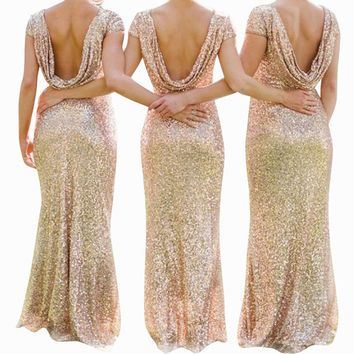 2017 Spring New Women's dress Fashion European women Sexy Halter&Backless dress Floor-length Mermaid Luxury Sequined Dr