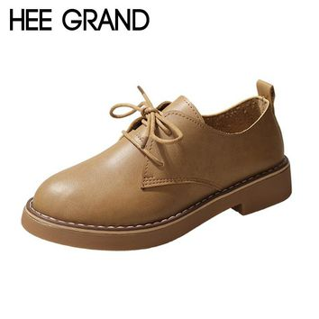 HEE GRAND 2018 New Women Flats Lace-up Summer&Fall Women Slip-on Causal Fashion Oxford Soft Leather Mujer Shoes XWD6906
