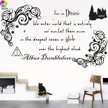 Dream Dumbledore Harry Potter Quote Wall Sticker Motivational Inspiration floral Wall Decal ForLiving room Kids Room Vinyl Mural