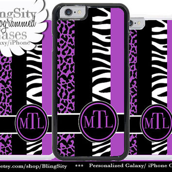 Monogram Zebra iPhone 6 Case Cheetah Black White Stripes Purple 5C 6 Plus 5s iPhone 4 case Ipod Touch Personalized