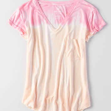 AEO Soft & Sexy V-Neck Favorite T-Shirt, Pink