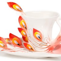 HindaWi Hand Crafted Porcelain Enamel Graceful Peacock Tea Coffee Cup Set with Saucer and Spoon, Red
