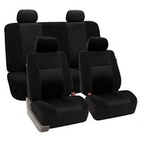 FH-FB060114 Trendy Elegance Car Seat Covers, Airbag compatible and Split Bench, Black color