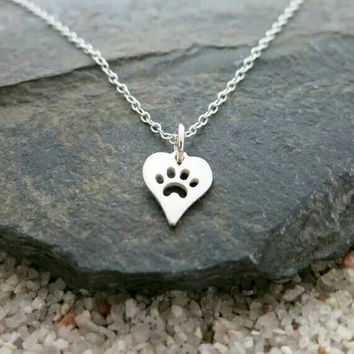Silver Paw Print Heart Necklace - Pendant Necklace - Pawprint Necklace - Dog Love - Cat Love - PREORDER