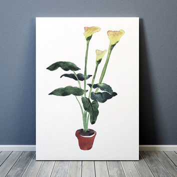 Flower print Watercolor art Potted plant poster Botanical print ACW642