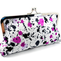Splatter Paint Framed Clutch Purse // Purple and Black // Cute Party Clutch // Silver Frame with Ball Closure // Lined // Under 30