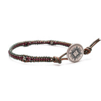 Ruby and Olive Seedbead Pyrite Single Leather Band by misomia