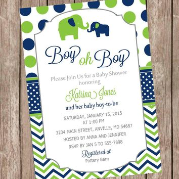 Elephant Boy Oh Boy Baby Shower Invitation Navy and Lime Green printable invitation elephant baby shower invitation boy baby shower invite