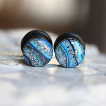 10mm Blue Ear Gauges, Blue Plugs, 00g Plugs, Clay Plugs, Single Flare, Stretched Ears - size 00g (10mm)