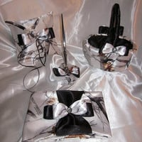 White Camo and Black Satin Wedding Set - Ring Bearers Pillow, Flower Girls Basket, Guest Book & Pen