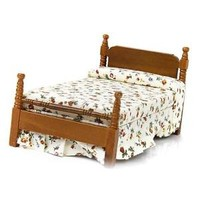 1/12 Wood Bed W/ Floral Cover Mattress Dollhouse Miniature Bedroom Furniture
