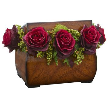 Artificial Flowers -Roses Burgundy Arrangement in Decorative Chest