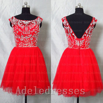 Fashion High Neck Red Tulle Cocktail Dress,Beaded Crystal Short Prom Dress,Back V Mini Length Prom Ball Gown Dress,Homecoming Dress Party