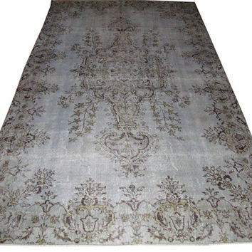 Sale Pale Blue Color Overdyed Handmade Rug  with Medallion Design 9'6'' x 5'8''  feet