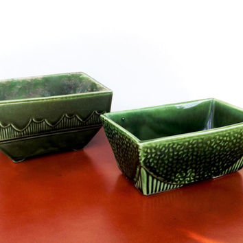 USA Hull Planter Vase, Art Deco Pottery Set, 2 Hunter Green Vintage Ceramic Glass Planter Pots, Rectangle Pot, USA 75, USA 611