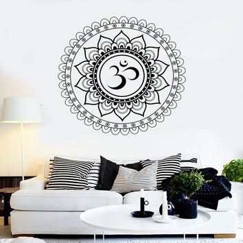 Vinyl Wall Decal Mandala Lotus Om Hindu Art Hinduism Stickers Unique Gift (ig4017)