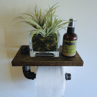 "Industrial Black Pipe Toilet Paper Holder Shelf the ""Gooden"""